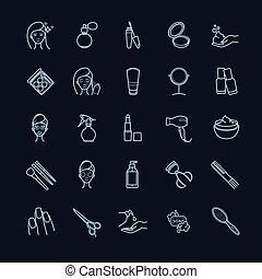 sæt, iconerne, forarbejde, skønhed, oppe, vektor, kosmetikker