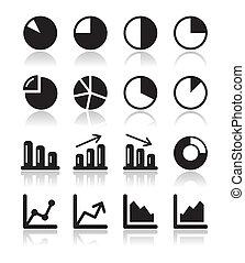sæt, iconerne, graph, kort, sort, inf