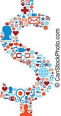 sæt, iconerne, medier, symbol, dollar, sociale