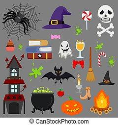 sæt, ikon, halloween, vektor, cartoon