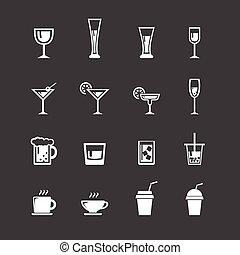 sæt, ikon, vector., drink