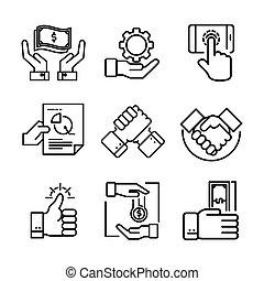 sæt, illustration, hånd, vektor, konstruktion, ikon