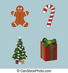 sæt, illustration, jul, cartoon, vektor, icon., style., xmas., dag