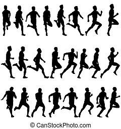 sæt, illustration., silhouettes., men., vektor, løbere, i fuld fart
