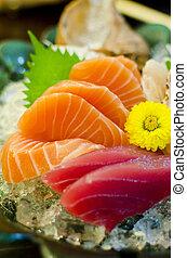 sæt, japansk mad, sashimi, tunfisk, laks