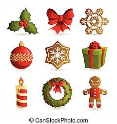 sæt, jul, iconerne