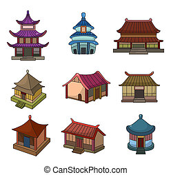 sæt, kinesisk, hus, cartoon, ikon