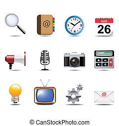 sæt, kommunikation, sociale, kanaler, medier, ikon