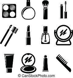 sæt, kosmetikker, icons.