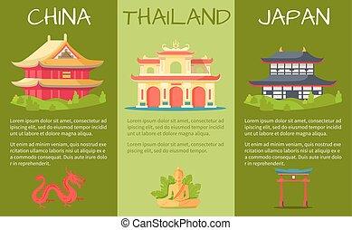 sæt, lande, touristic, vektor, asiat, bannere
