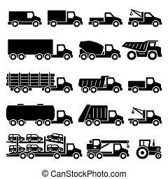 sæt, lastbiler, iconerne