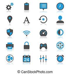 sæt, lejlighed, hos, reflektion, iconerne