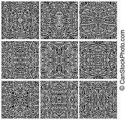 sæt, mønster, abstrakt, vectors, seamless, ni