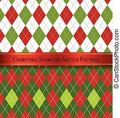 sæt, mønster, argyle, seamless, 1, konstruktion, jul