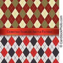 sæt, mønster, argyle, seamless, 3, konstruktion, jul