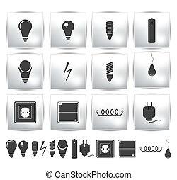sæt, magt, el, energi, button., vektor