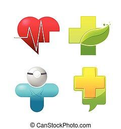 sæt, medicinsk, vektor, logo, symbol, ikon