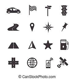 sæt, navigation, iconerne