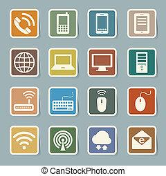 sæt, netværk, ambulant, anordninger, computer, connections., ikon