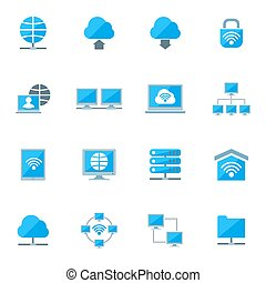 sæt, netværk, iconerne