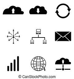 sæt, netværk, ikon