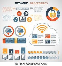 sæt, netværk, infographics