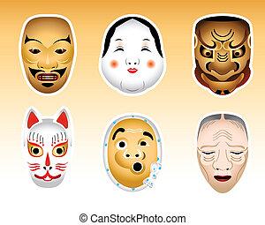 sæt, noh, masker, 1, kyogen, japan,  