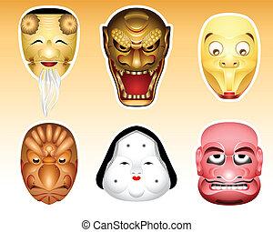 sæt, noh, masker, kyogen, 3, japan,  