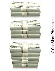sæt, penge, notere, dollar, bank, overfyldt