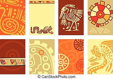 sæt, placard, banner, flyer, traditionelle, mønstre, amerikansk indisk, baggrund