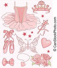 sæt, prinsesse, ballerina