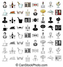sæt, restaurant, stor, symbol, iconerne, samling, style., vektor, illustration, cartoon, aktie