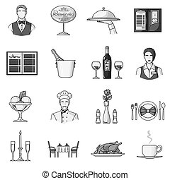 sæt, restaurant, stor, symbol, iconerne, samling, vektor, illustration, monochrome, style., aktie
