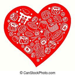 sæt, seafood, hånd, symboler, stram, japan