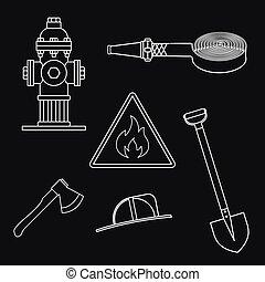 sæt, service., ild, emne, baggrund, hvid