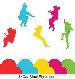 sæt, silhuet, børn, springe, piger, vektor, baggrund