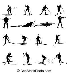 sæt, silhuet, biathlon