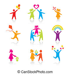 sæt, silhuet, folk, barnet, mand, iconerne, -, symbol., dreng, kvinde, pige, forældre, far, vector., family., mor, barn