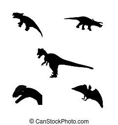 sæt, silhuet, illustration., dinosaur., vektor, sort