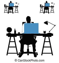 sæt, silhuet, laptop, illustration, skrivebord, mand