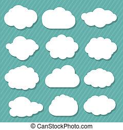 sæt, skyer, cartoon