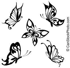 sæt, sort, hvid, sommerfugle, i, en, ta