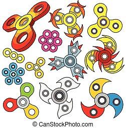 sæt, spinners., farverig, hånd, vektor, fidget