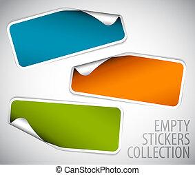 sæt, stickers, rektangel, blank