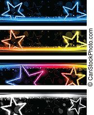 sæt, stjerner, neon, fire, glødende, baggrund, banner