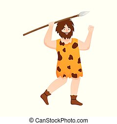 sæt, stock., caveman, jæger, vektor, konstruktion, mand, logo., ikon