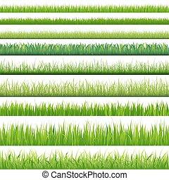 sæt, stor, græs