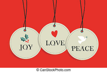 sæt, tags, hænge, omsætning, elementer, jul