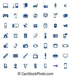 sæt, teknologi, ikon