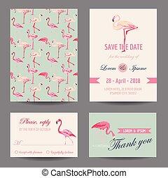 sæt, -, tema, vektor, flamingo, invitation/congratulation,...